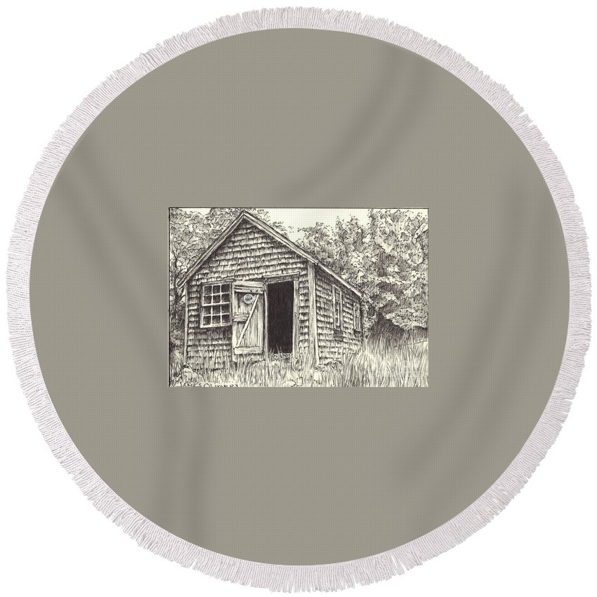 Lanes Cove Round Beach Towel featuring the drawing Old Lanes Cove Fishing Shack by James Oliver