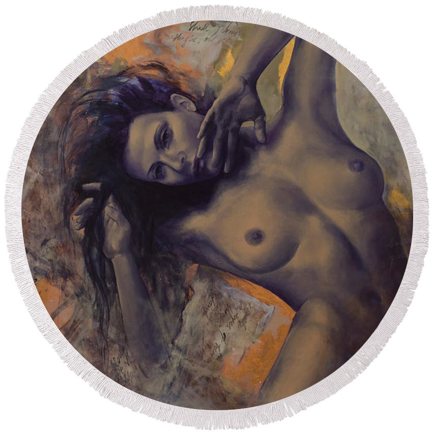 Woman Round Beach Towel featuring the painting Old Love Letters by Dorina Costras