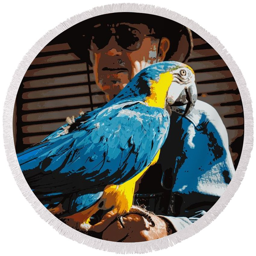 Bird Round Beach Towel featuring the photograph Old Man And His Bird by Cathy Smith