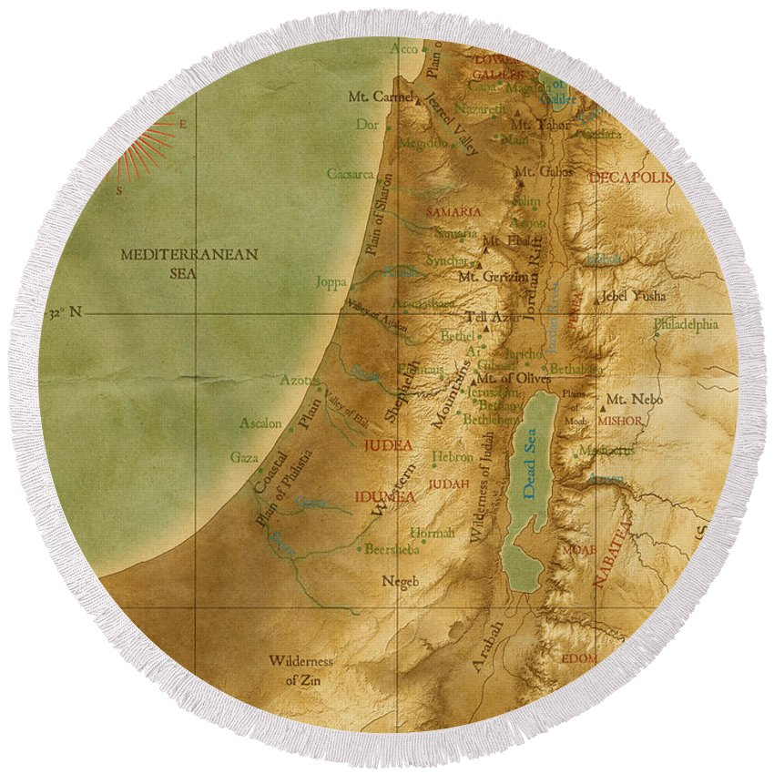 Map Round Beach Towel featuring the digital art Old Map Of The Holy Land by Carol and Mike Werner