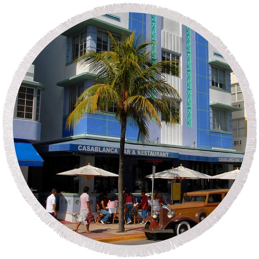 Miami Florida Round Beach Towel featuring the photograph Old Miami by David Lee Thompson