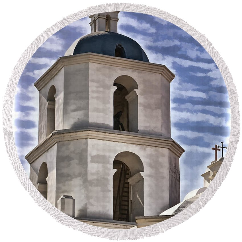 Mission San Luis Rey California Round Beach Towel featuring the photograph Old Mission San Luis Rey Tower - California by Jon Berghoff