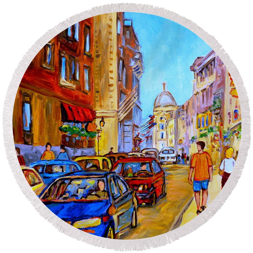 Old Montreal Street Scenes Round Beach Towel featuring the painting Old Montreal by Carole Spandau