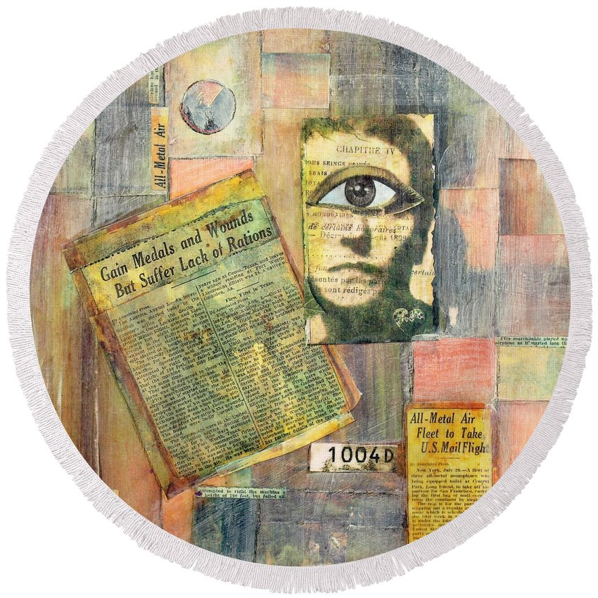 Surreal Round Beach Towel featuring the mixed media Old News by Judy Tolley