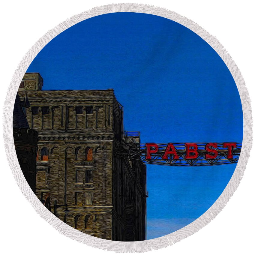 Beer Round Beach Towel featuring the photograph Old Pabst Brewery by Tommy Anderson