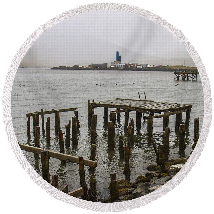 Iceland Round Beach Towel featuring the photograph Old Pier In Siglufjordur by For Ninety One Days