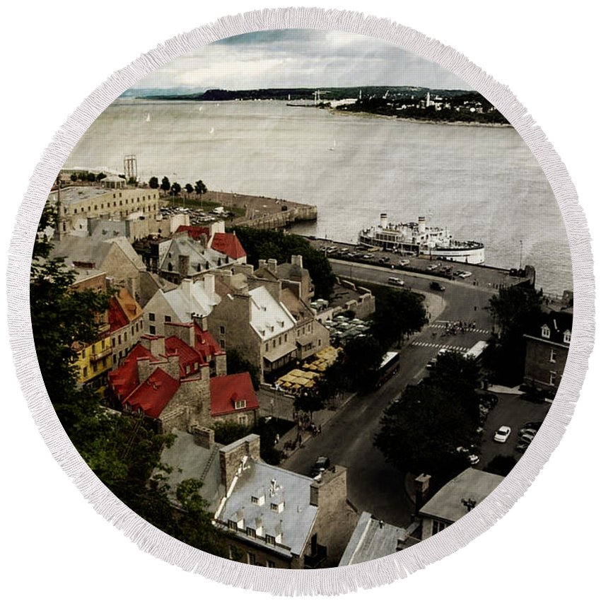 Quebec City Round Beach Towel featuring the photograph Old Quebec City By St.lawrence by Elaine Berger