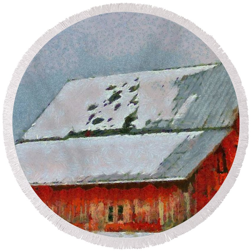 Old Red Barn In Winter Round Beach Towel featuring the painting Old Red Barn In Winter by Dan Sproul