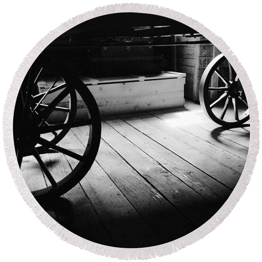 Wheels Round Beach Towel featuring the photograph Old Rims by The Artist Project