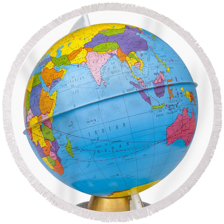 Old rotating world map globe round beach towel for sale by donald globe round beach towel featuring the photograph old rotating world map globe by donald erickson gumiabroncs Images