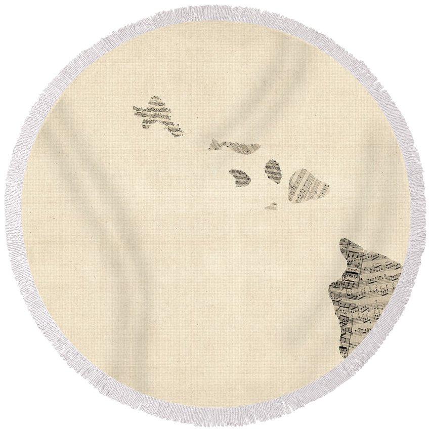Us Map Round Beach Towels