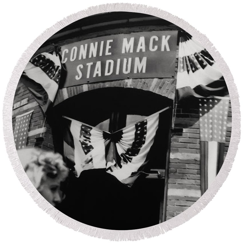 Old Shibe Park - Connie Mack Stadium Round Beach Towel featuring the photograph Old Shibe Park - Connie Mack Stadium by Bill Cannon