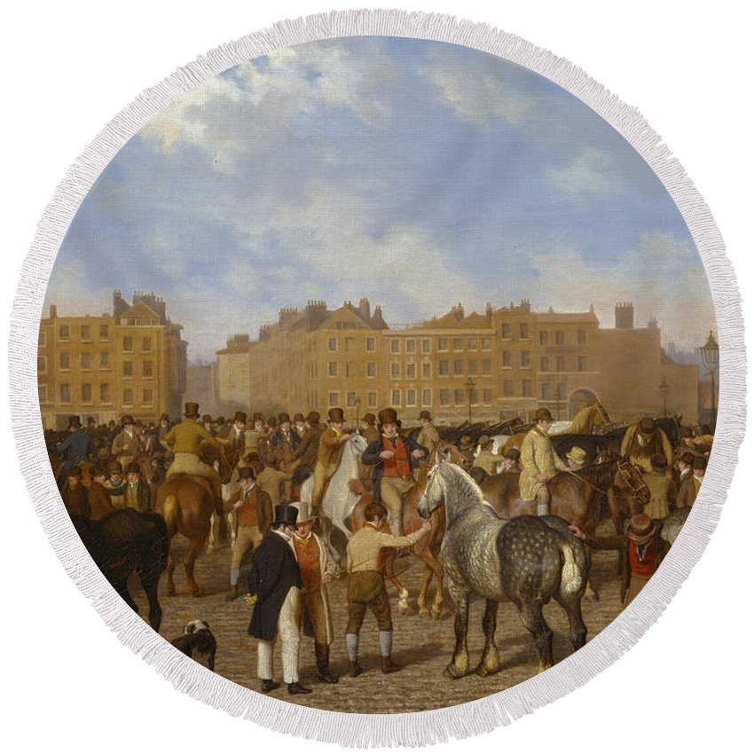 Jacques-laurent Agasse Round Beach Towel featuring the painting Old Smithfield Market by Jacques-Laurent Agasse
