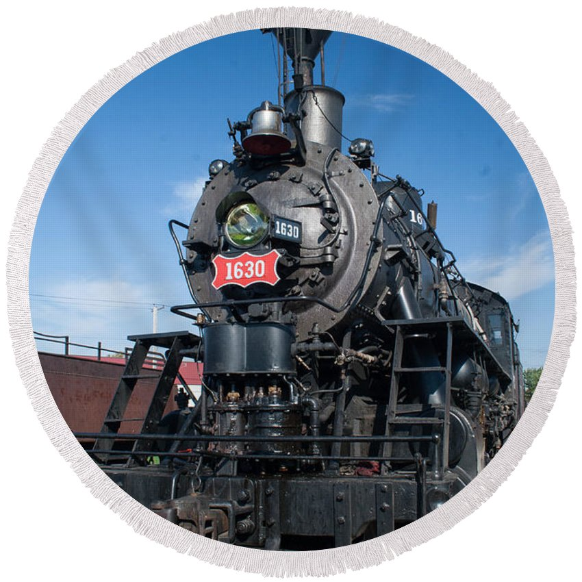 Trains Round Beach Towel featuring the photograph Old Steam Engine by Robert Storost