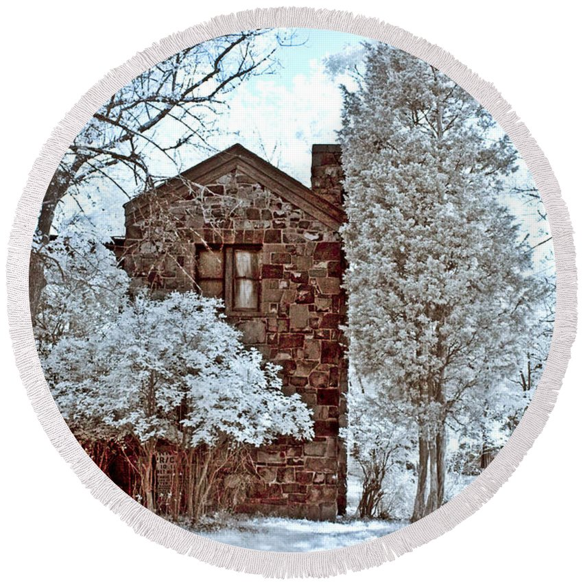 Trees Round Beach Towel featuring the photograph Old Stone House by Anthony Sacco