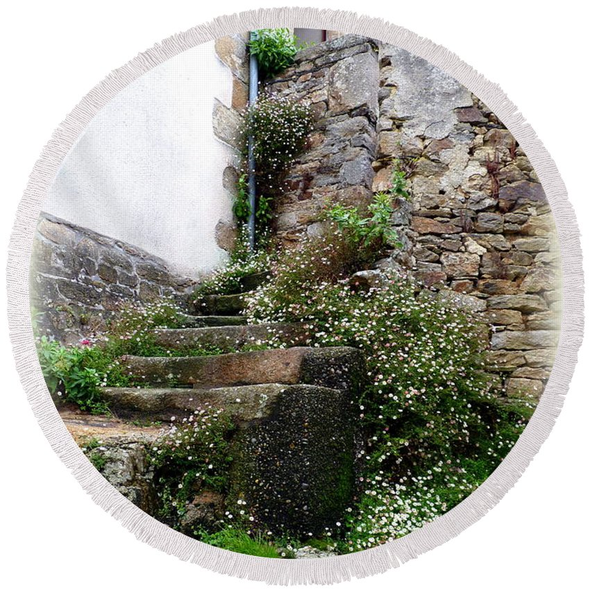 Stone Round Beach Towel featuring the photograph Old Stone Steps by Carla Parris
