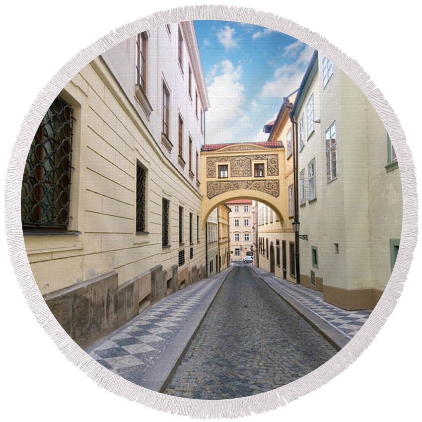 Architecture Round Beach Towel featuring the photograph Old Street In Prague by Michal Bednarek