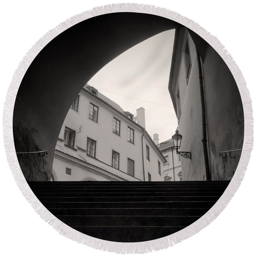 Architecture Round Beach Towel featuring the photograph Old Streets In Prague by Michal Bednarek