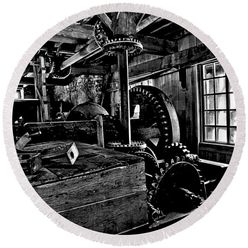 Grist Mill Gears Round Beach Towel featuring the photograph Old Time Gears by Adam Jewell