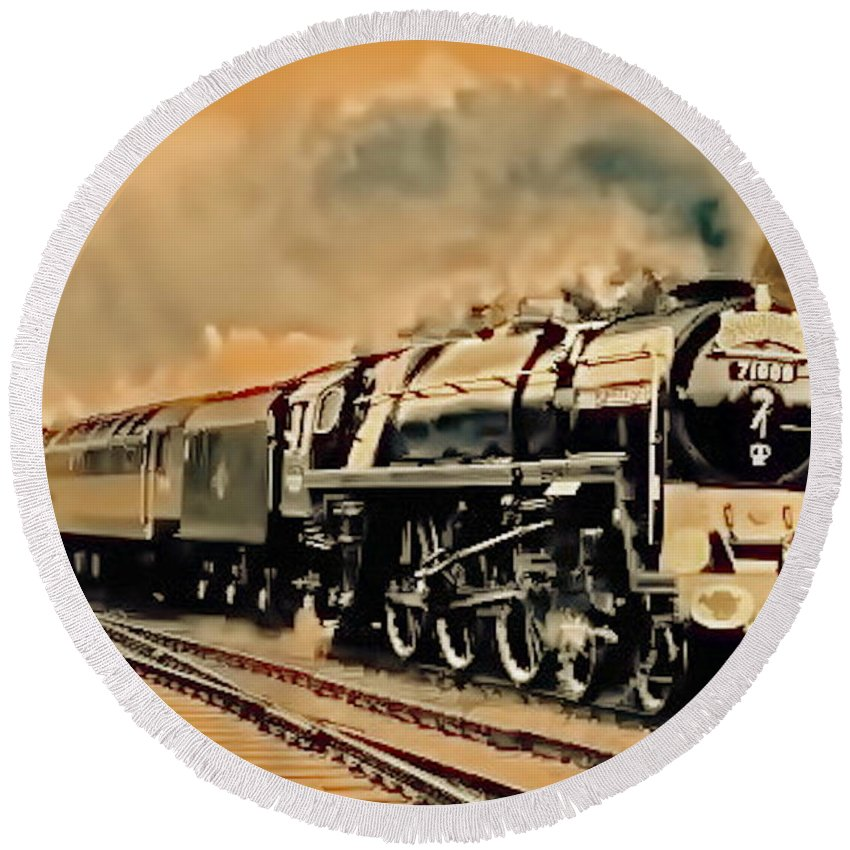 Railroad Round Beach Towel featuring the digital art Old Timer T by Tim Richards