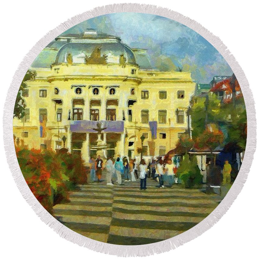 Europe Round Beach Towel featuring the painting Old Town Square by Jeffrey Kolker