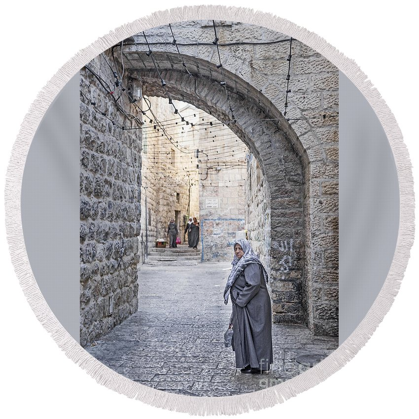 Ancient Round Beach Towel featuring the photograph Old Town Street Of Jerusalem Israel by Jacek Malipan