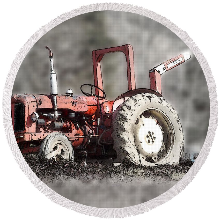 Old Round Beach Towel featuring the photograph Old Tractor by Brainwave Pictures