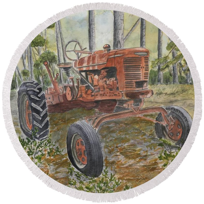 Old Round Beach Towel featuring the painting Old Tractor Vintage Art by Derek Mccrea