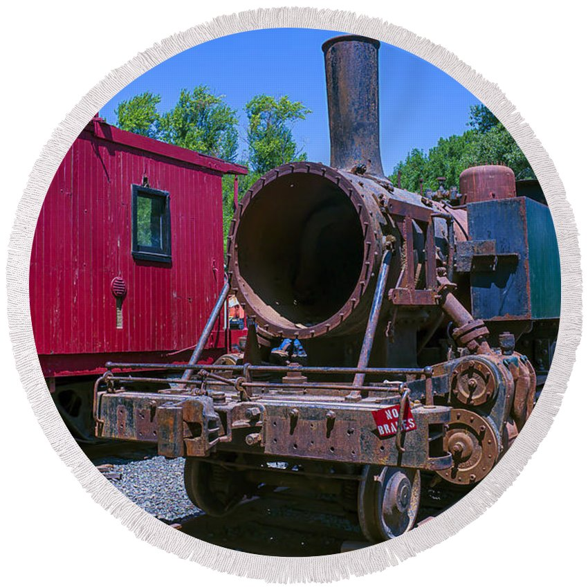 California Western Round Beach Towel featuring the photograph Old Train Engine by Garry Gay