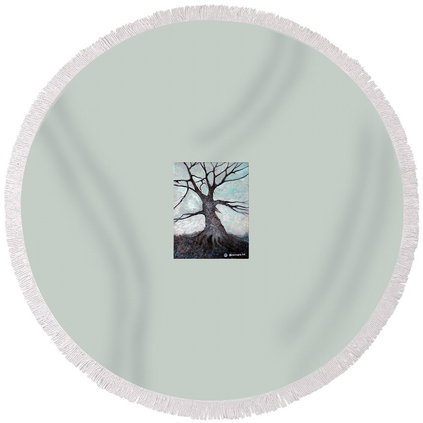Landscape Round Beach Towel featuring the painting Old tree by Sergey Bezhinets