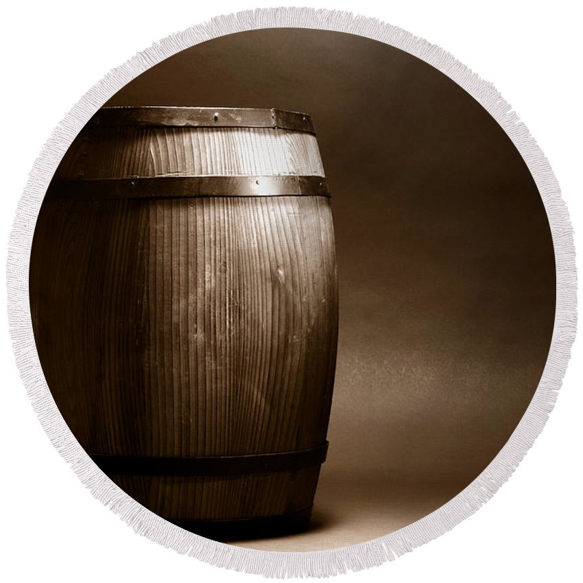 Barrel Round Beach Towel featuring the photograph Old Whisky Barrel by Olivier Le Queinec