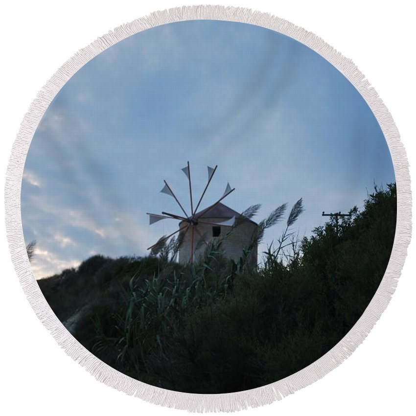 Old Wind Mill Round Beach Towel featuring the photograph Old Wind Mill 1830 by George Katechis