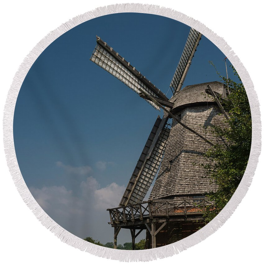 Building Round Beach Towel featuring the photograph Old Windmill by TouTouke A Y