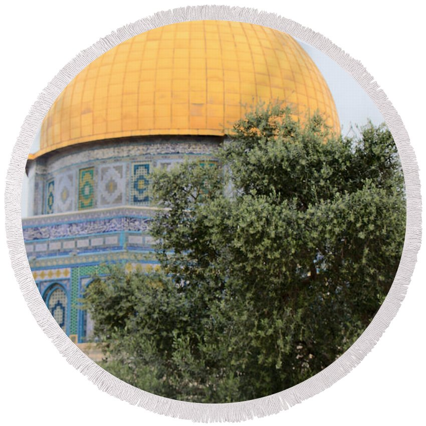 Olive Round Beach Towel featuring the photograph Olive Tree Dome by Munir Alawi
