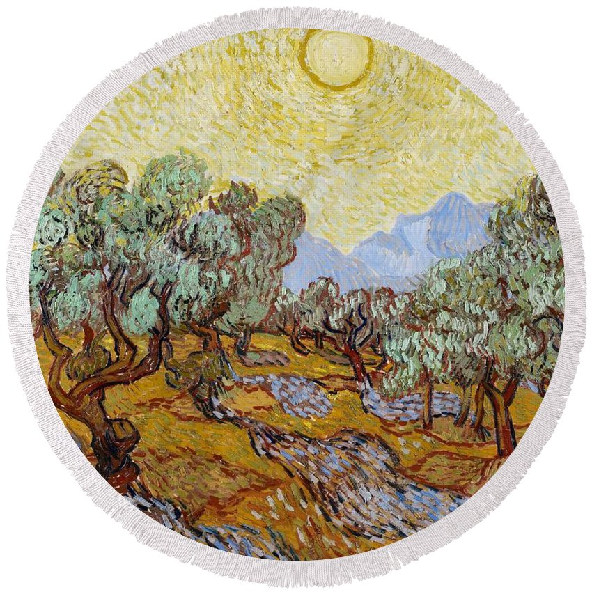 Van Round Beach Towel featuring the painting Olive Trees by Vincent Van Gogh
