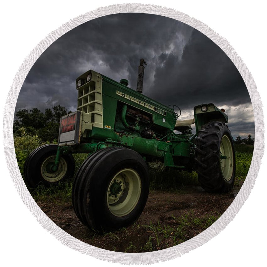 Tractor Round Beach Towel featuring the photograph Oliver by Aaron J Groen