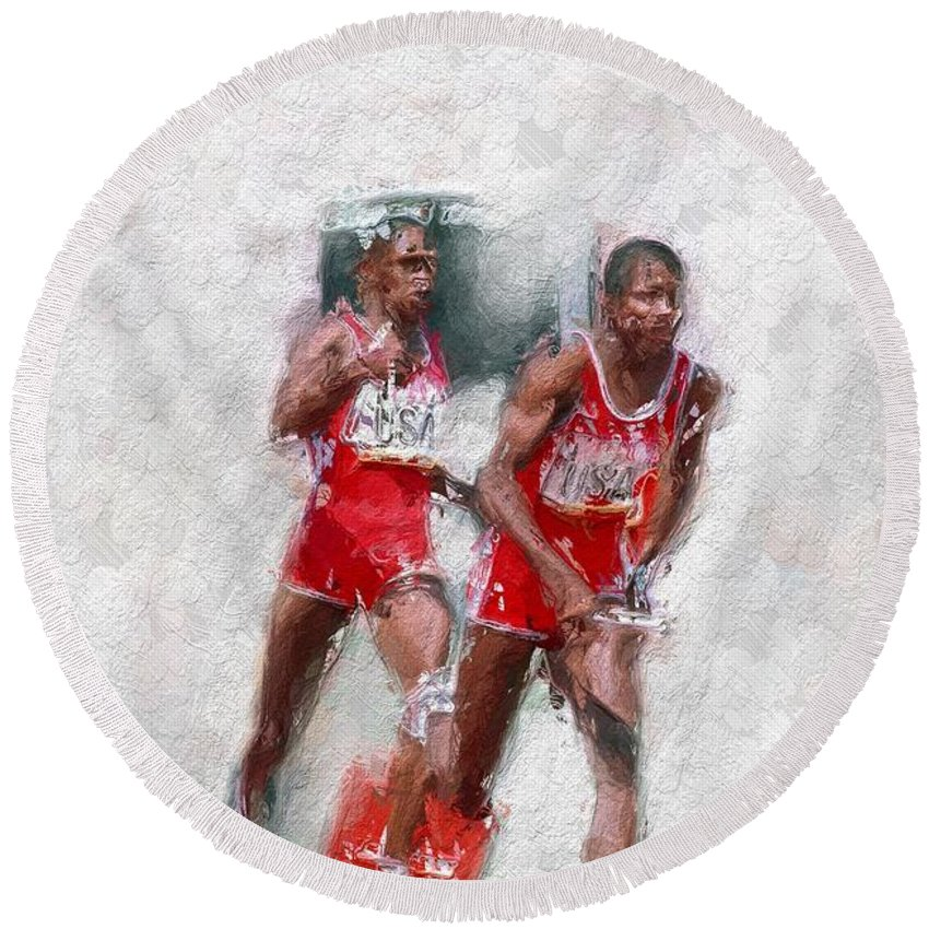 Olympic Heros Painting Sport Sports Usa Run Men Expressionism Impressionism Round Beach Towel featuring the painting Olympic Heros by Steve K