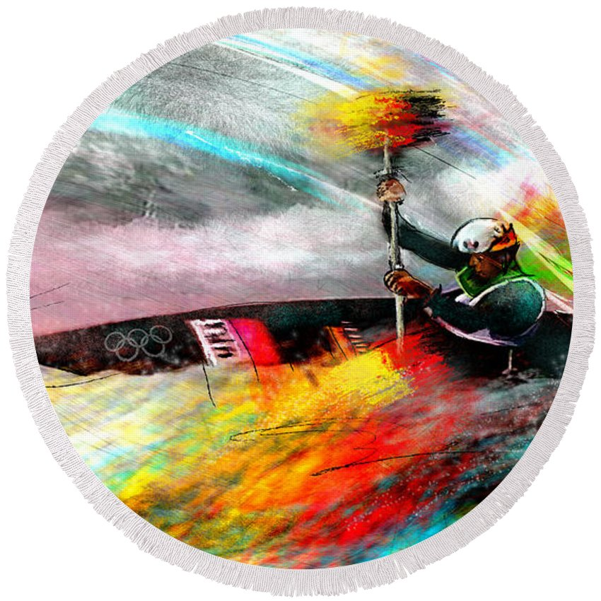 Sports Round Beach Towel featuring the painting Olympics Kayaking 01 by Miki De Goodaboom