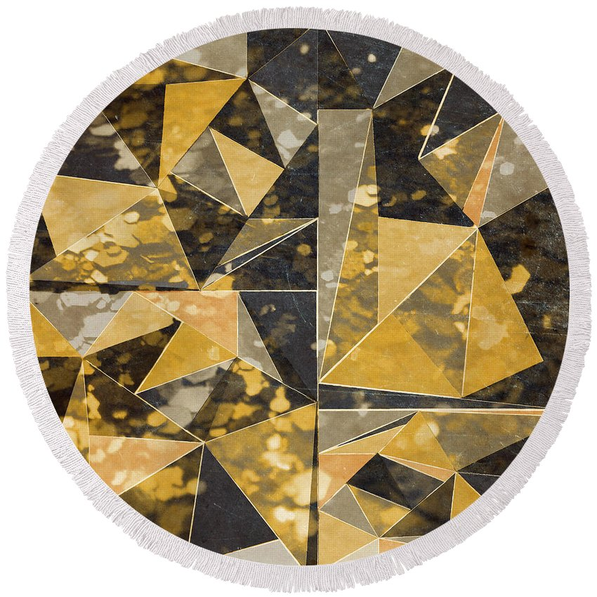 Omg Round Beach Towel featuring the digital art Omg Modern Triangles II by south Social Studio