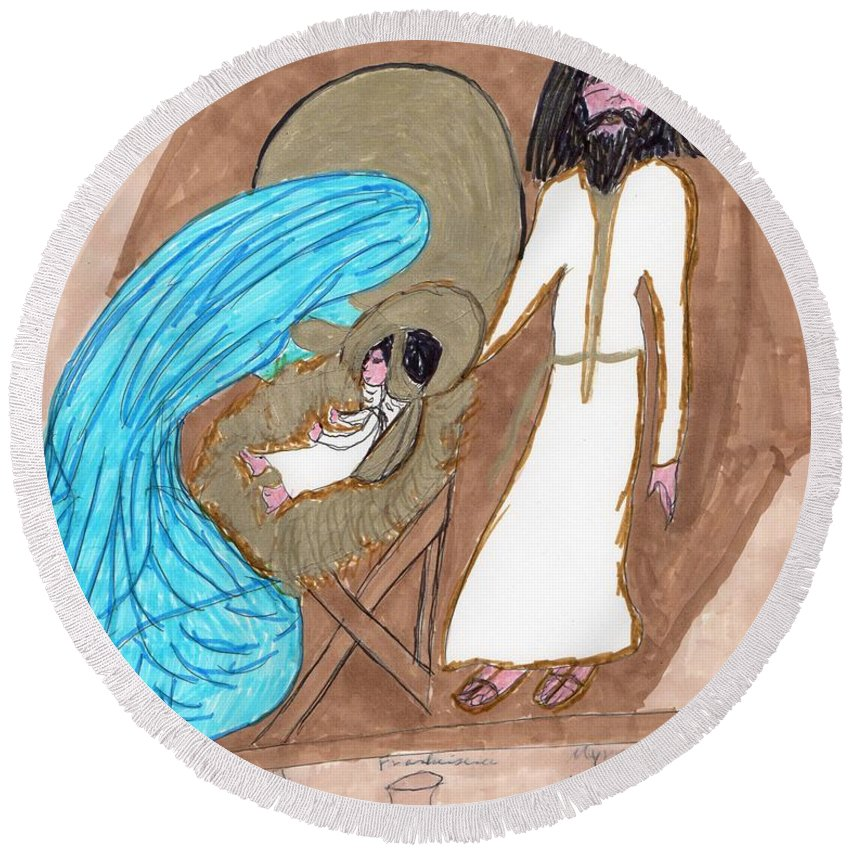 Manger And Gifts From 3 Wise Men Round Beach Towel featuring the mixed media On A Cold Winters Night by Elinor Helen Rakowski