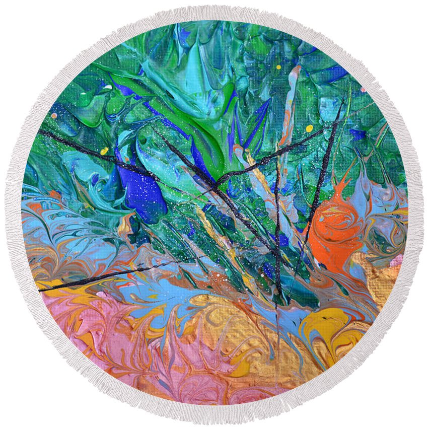 Vibrant Abstract Round Beach Towel featuring the painting On Fire by Donna Blackhall