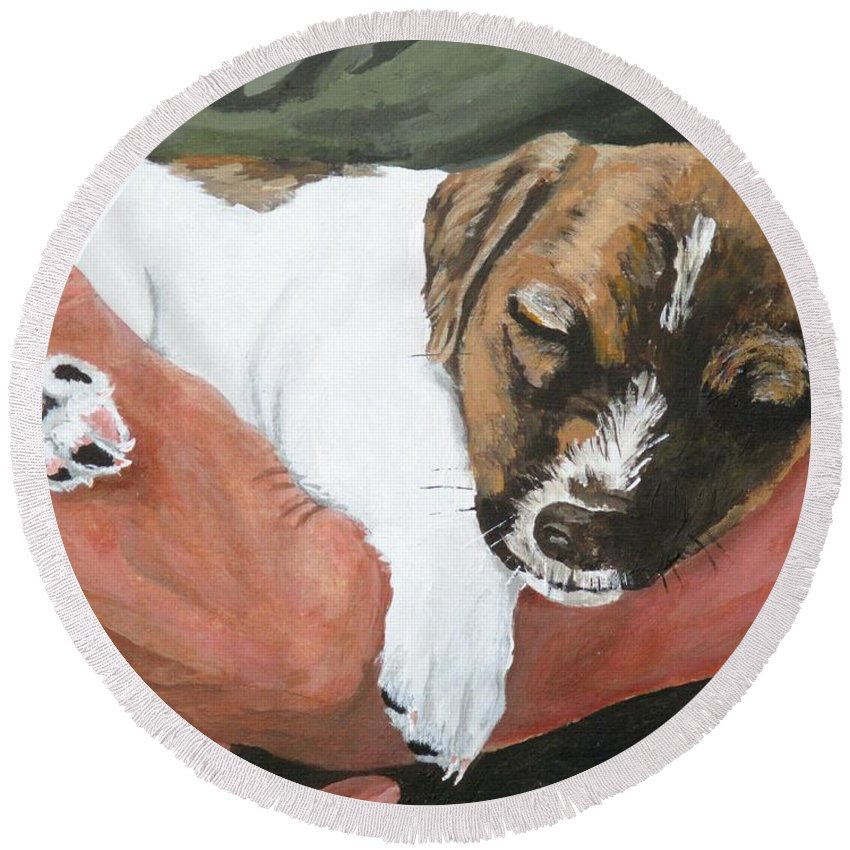 Guard Dog Round Beach Towel featuring the painting On Guard by Michael Dillon