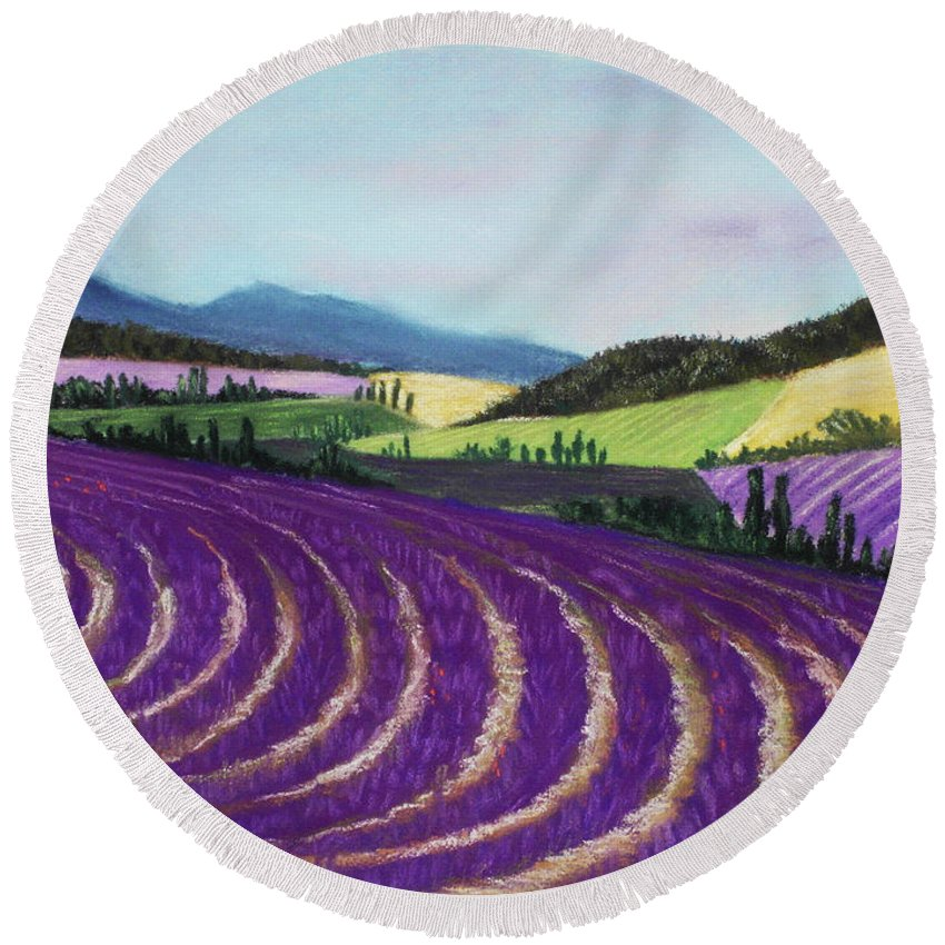 Interior Round Beach Towel featuring the painting On Lavender Trail by Anastasiya Malakhova