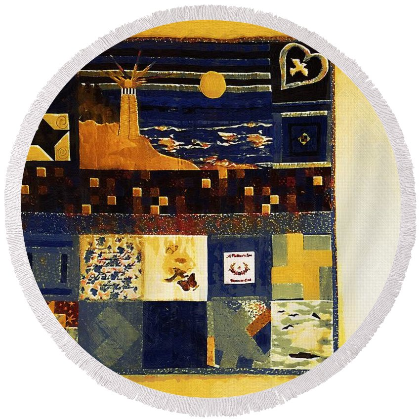 Quilt Round Beach Towel featuring the painting On My Bedroom Wall by RC DeWinter