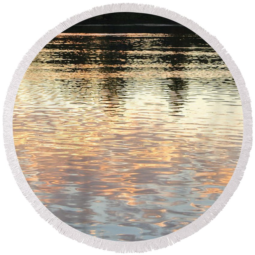 Pond Round Beach Towel featuring the photograph On Shimmering Pond by Charlotte Stevenson