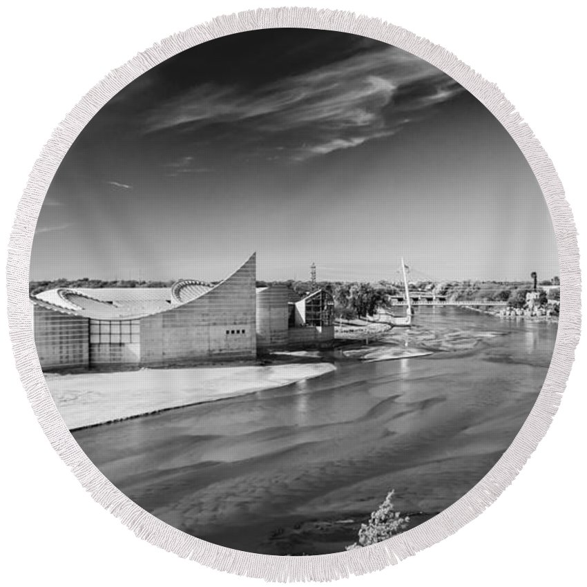 Discovery Center Round Beach Towel featuring the photograph On The Arkansas by Guy Whiteley