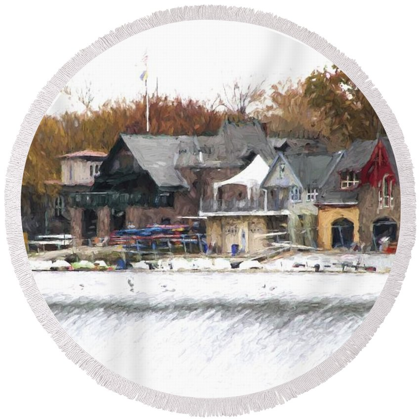 Boathouse Row Round Beach Towel featuring the photograph On The Edge by Alice Gipson