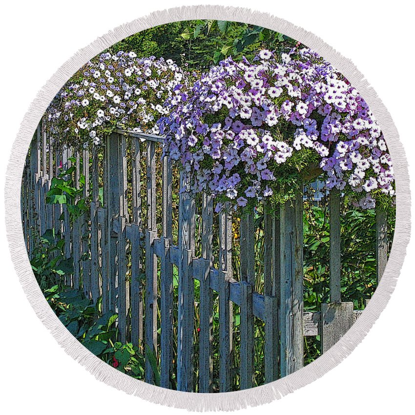 Petunia Round Beach Towel featuring the photograph On The Fence by Ann Horn