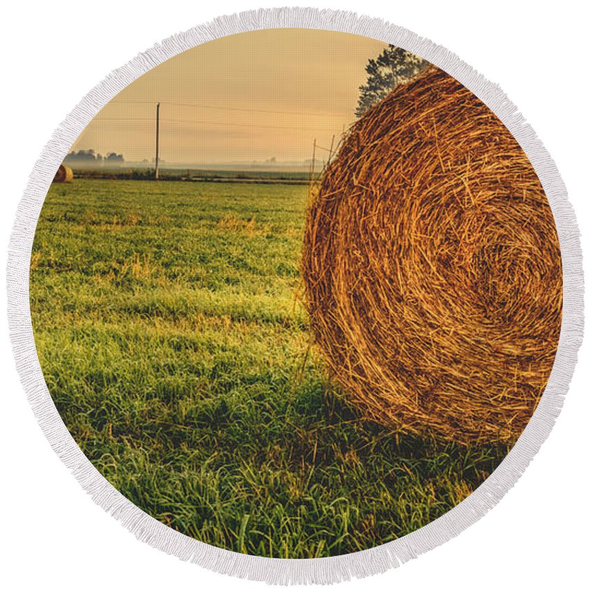 Hay Round Beach Towel featuring the photograph On The Field by Garvin Hunter