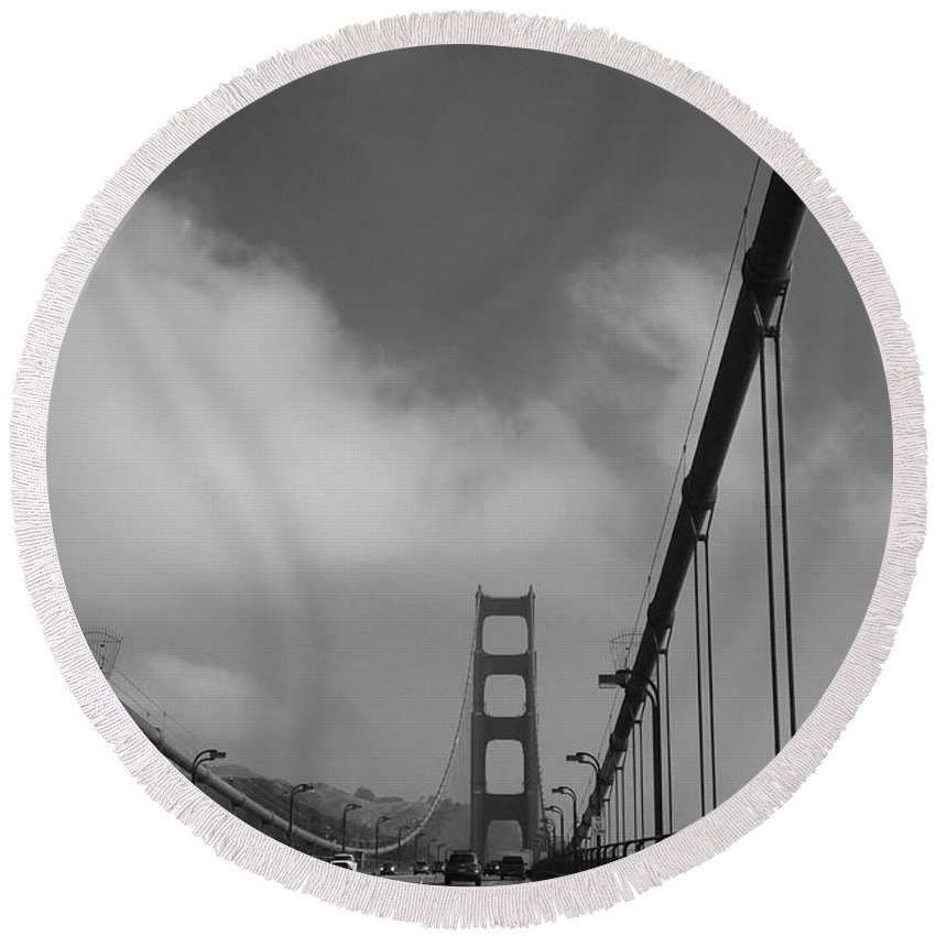Golden Gate Round Beach Towel featuring the photograph On The Golden Gate Bridge by Christiane Schulze Art And Photography